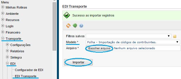 Datamex importar edi contribuintes folha dominio