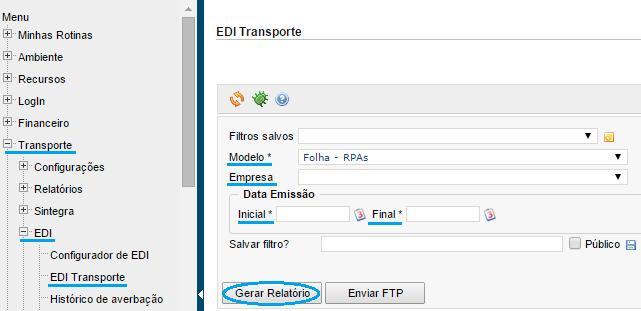 Datamex exportar edi RPA para folha dominio