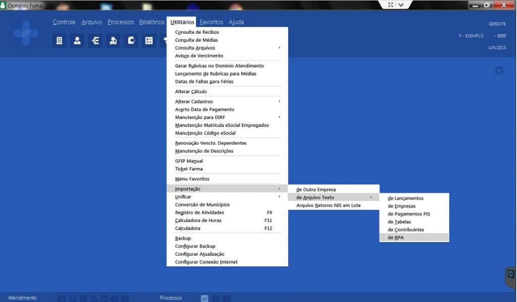 Importar no Dominio o EDI RPA gerado no TMS Datamex